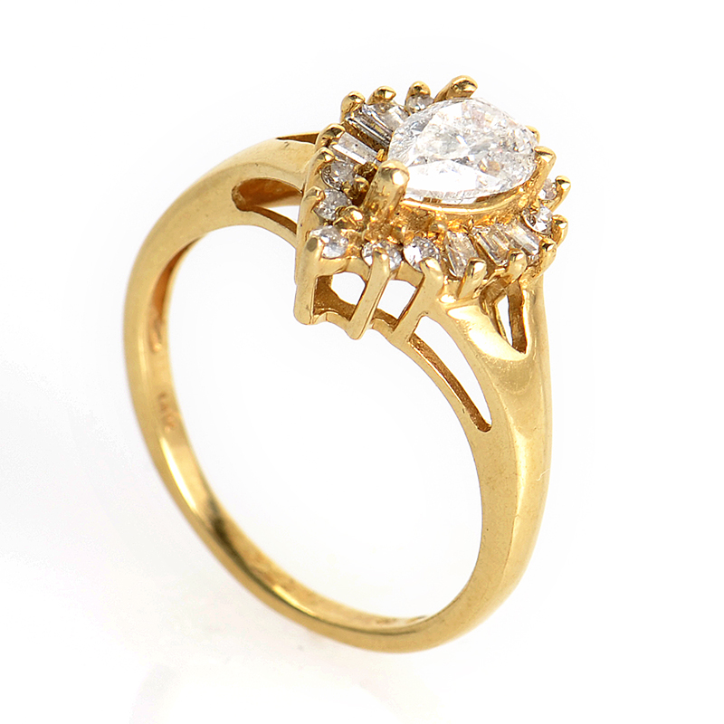 14K Yellow Gold Pear Shaped Diamond Ring PSAG26-082412