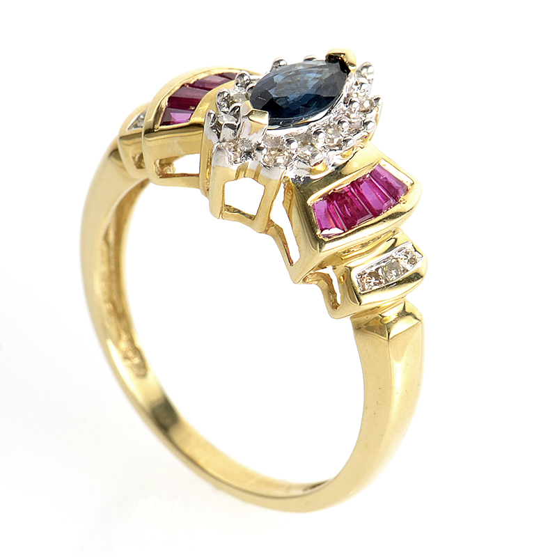 14K Yellow Gold Sapphire and Ruby Ring PSAG28-082012