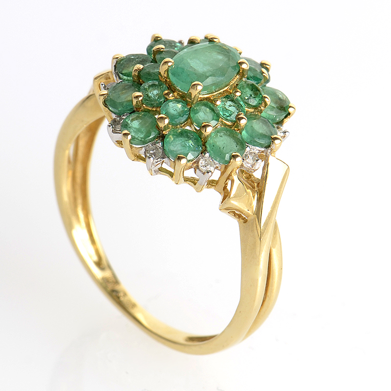 14K Yellow Gold Emerald Flower Ring PSAG31-082012