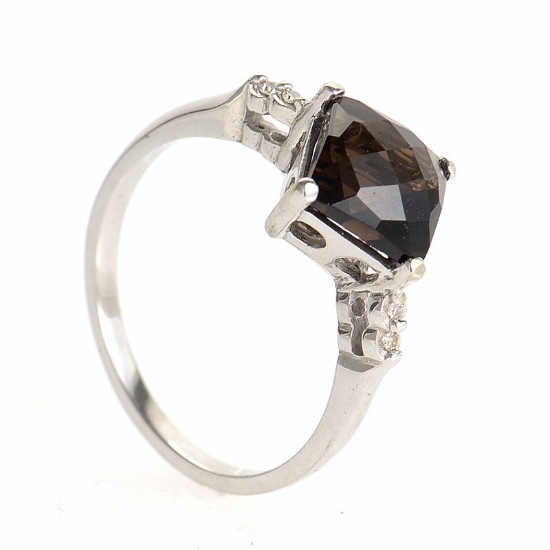 10K White Gold Smoky Topaz and Diamond Ring