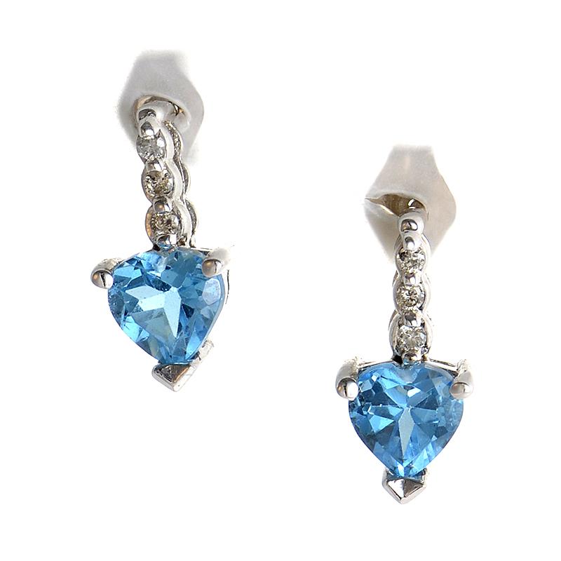 14K White Gold Topaz Heart Earrings