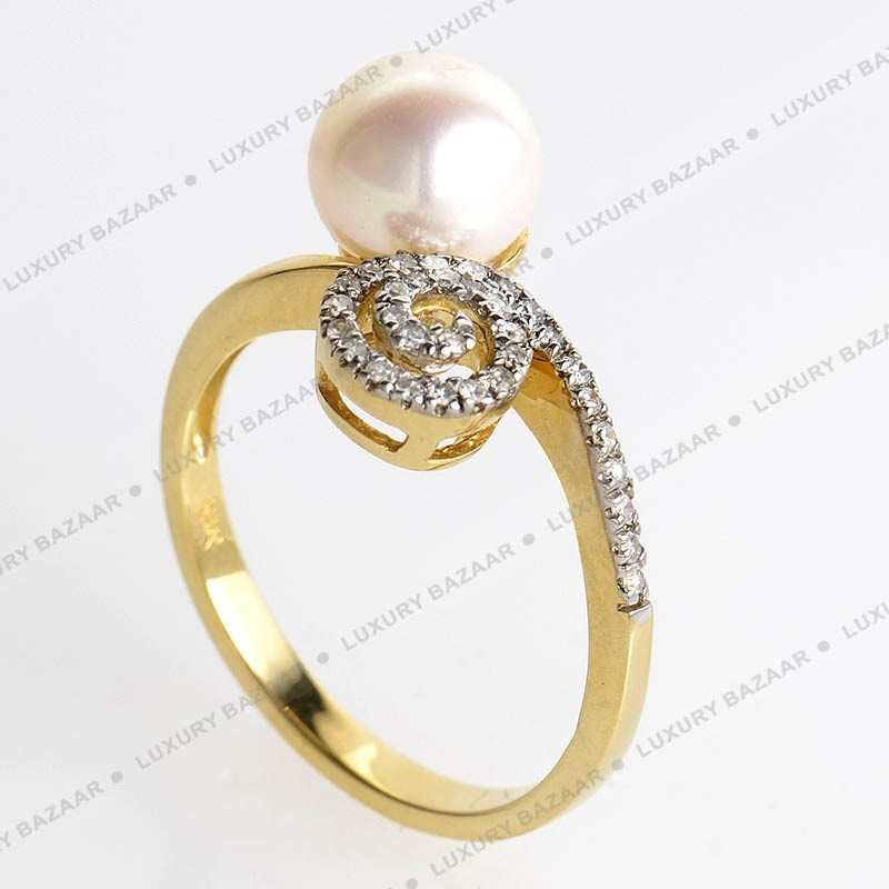 14K Yellow Gold Pearl and Diamond Swirl Ring