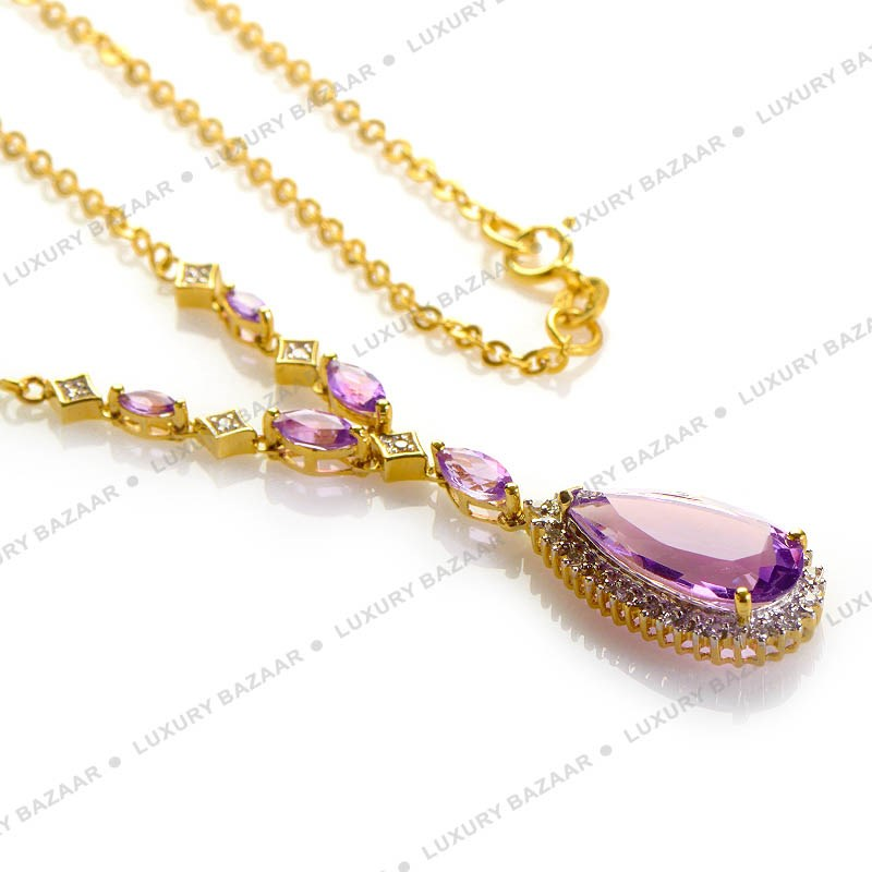 14K Yellow Gold with Diamonds and Amethysts Necklace