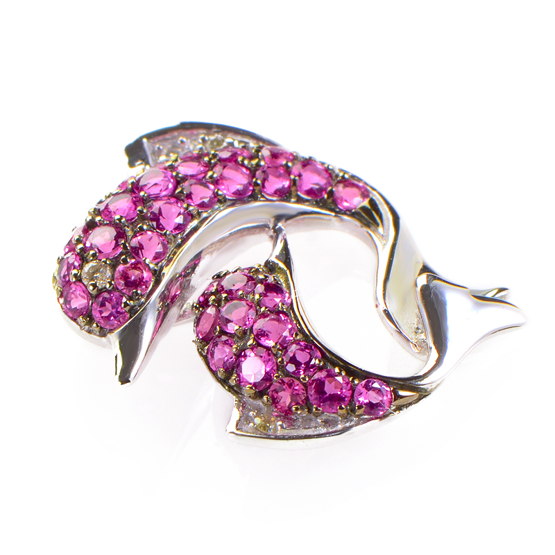 14K White Gold and Pink Sapphire and Diamond Dolphin Pendant