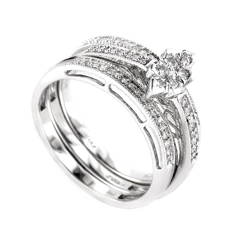 10K White Gold Diamond Bridal Set EN1-02490