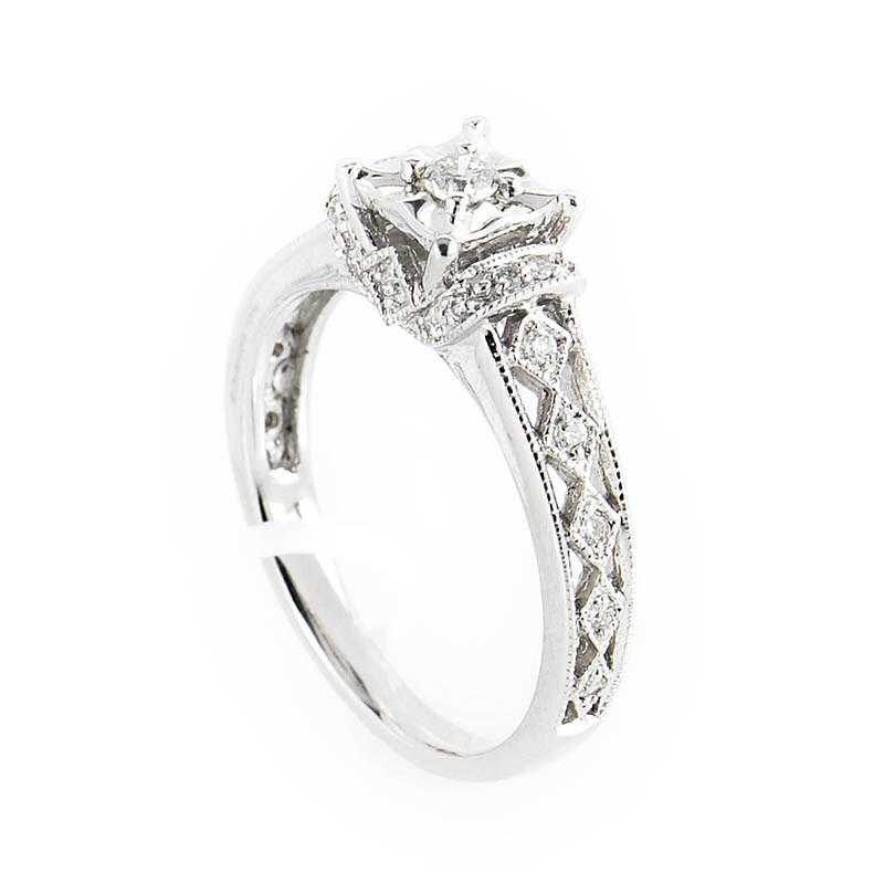 10K White Gold Diamond Engagement Ring EN1-02525