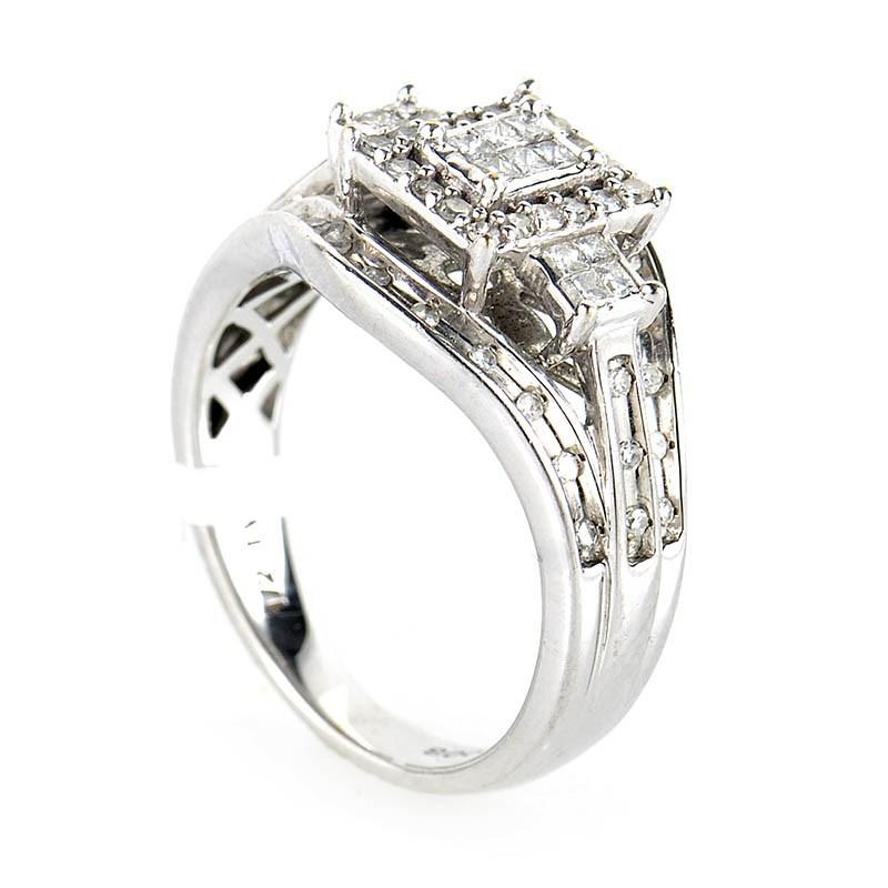 10K White Gold Invisible Set Diamond Ring