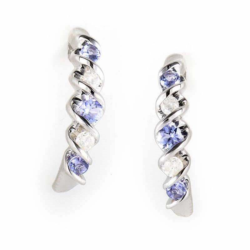 10K White Gold Tanzanite & Diamond Earrings