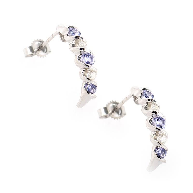 Tanzanite Drop Earrings White Gold Earrings 10k White Gold