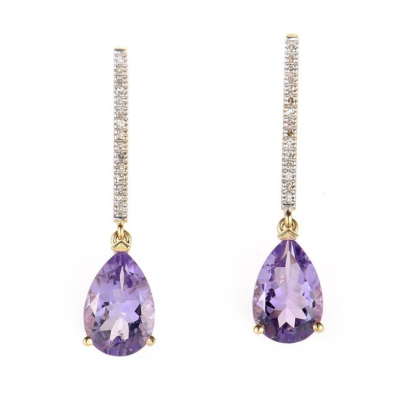 10K Yellow Gold Diamond & Teardrop Amethyst Earrings