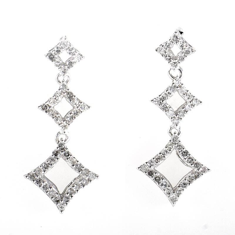 10K White Gold Diamond Drop Earrings