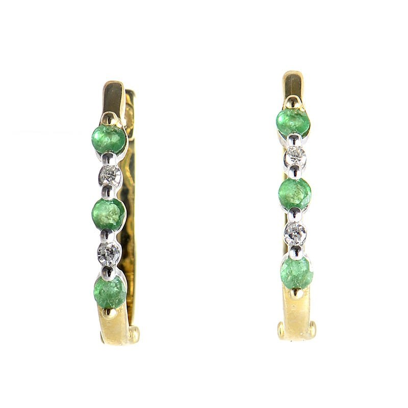 Women's 10K Yellow Gold Emerald & Diamond Earrings ER1-011142