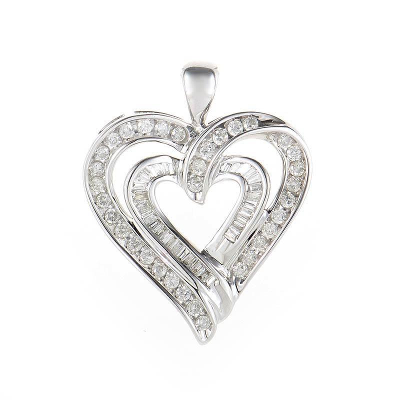 10K White Gold Diamond Heart Pendant HT1-07588P