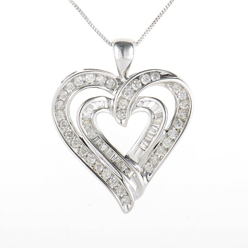 10K White Gold Diamond Set Heart Pendant Necklace