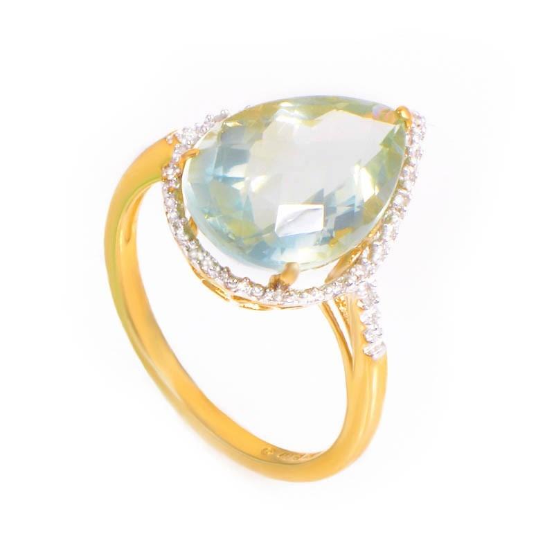 10K Yellow Gold Green Amethyst & Diamonds Ring