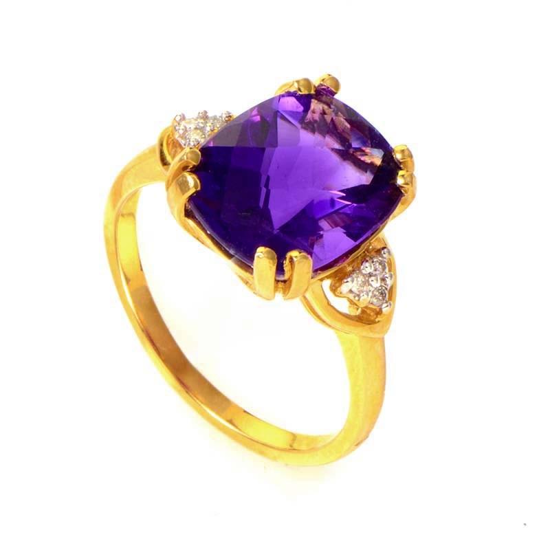 10K Yellow Gold Amethyst & Diamond Ring LA1-01246