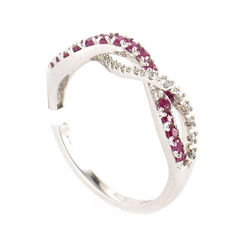 10K White Gold Diamond & Ruby Braid Ring LB1-01175