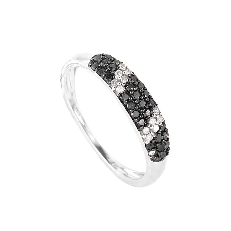 10K White Gold Black & White Diamond Band Ring