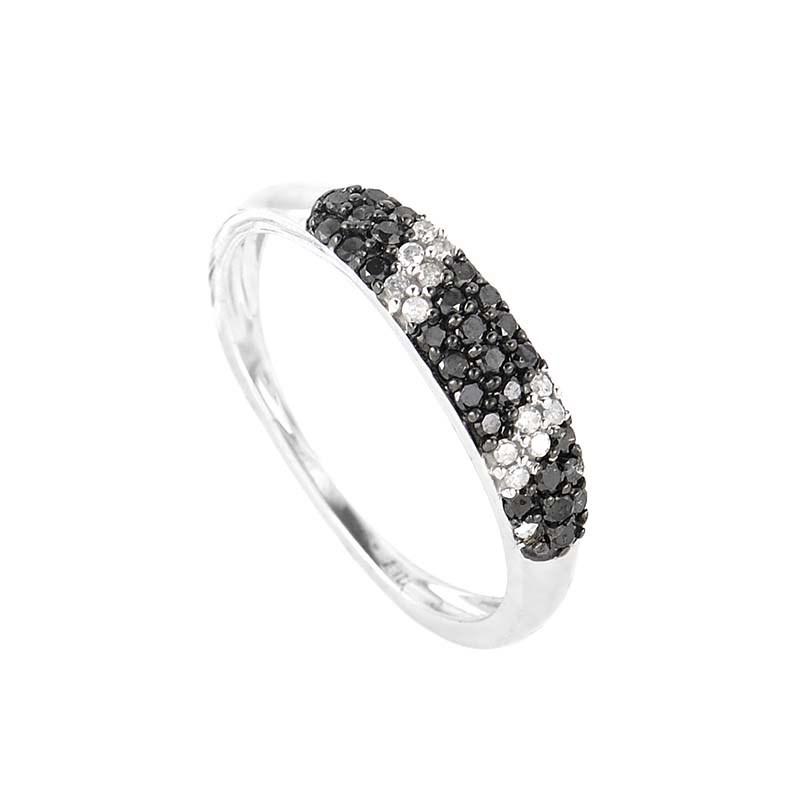 10K White Gold Black & White Diamond Band Ring