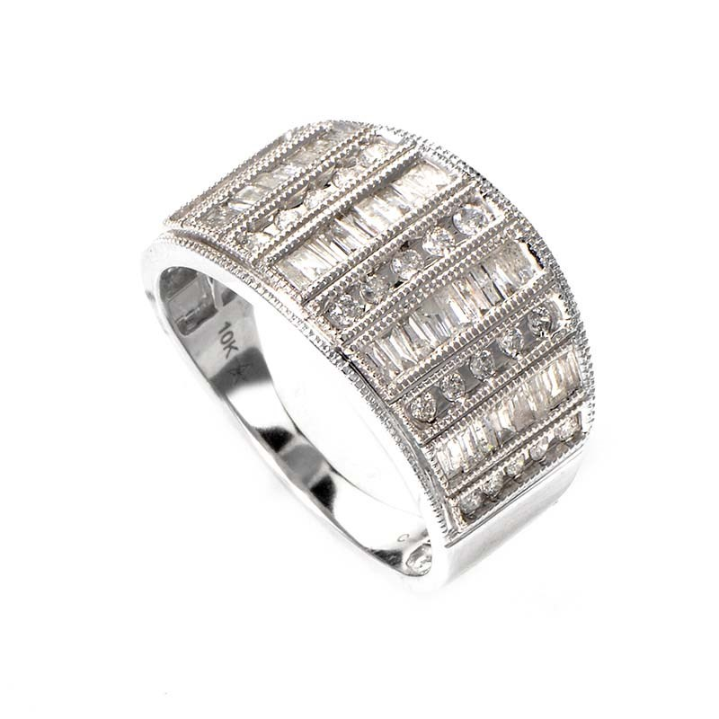 Thick 10K White Gold Diamond Band Ring