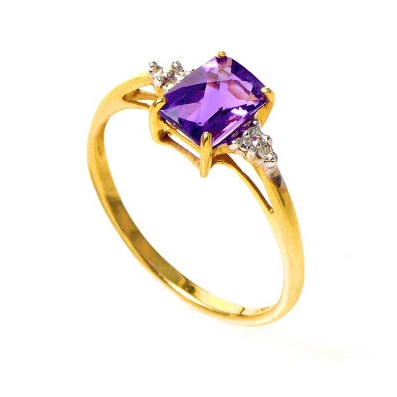 10K Yellow Gold Amethyst & Diamond Ring LC1-01115A