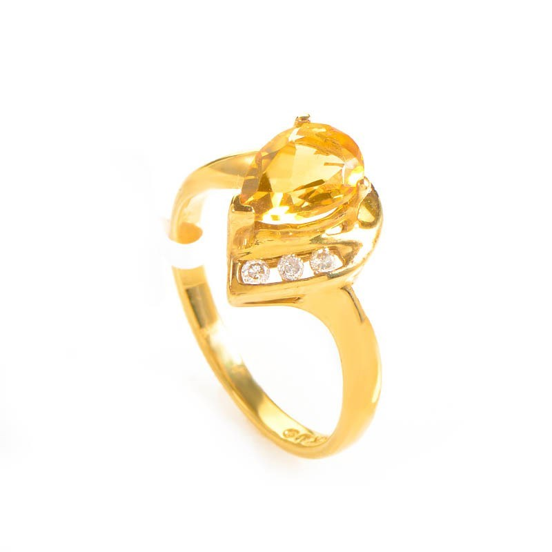 10K Yellow Gold Teardrop Citrine and Diamond Ring LC1-01194