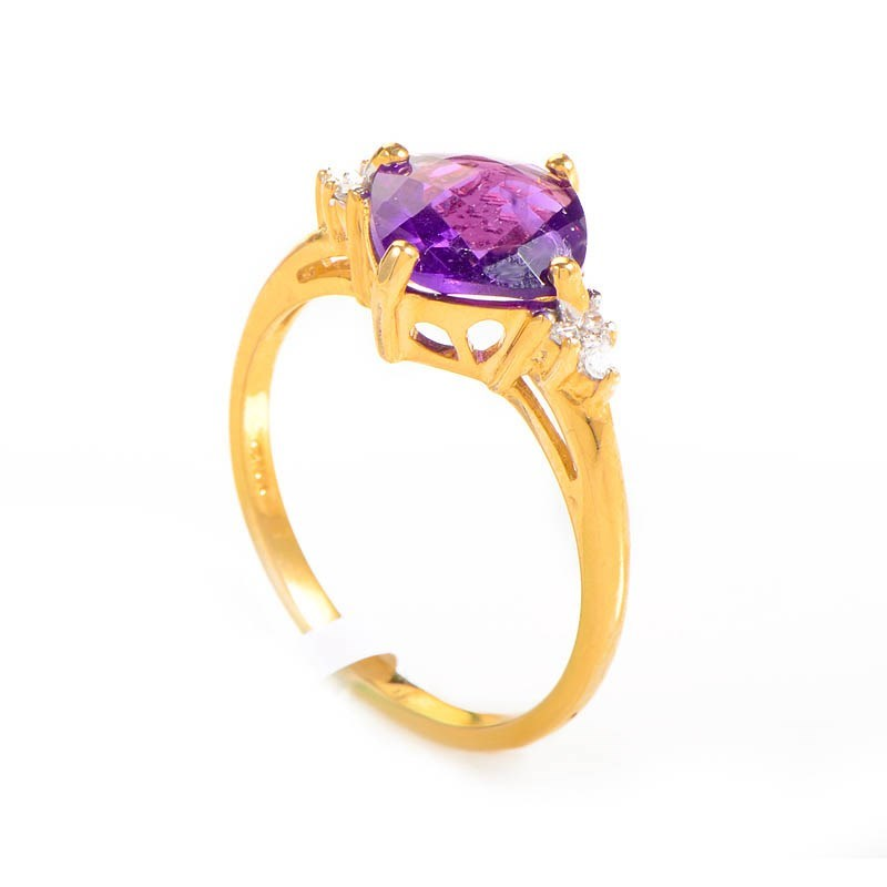 10K Yellow Gold Amethyst & Diamond Ring LC1-01224