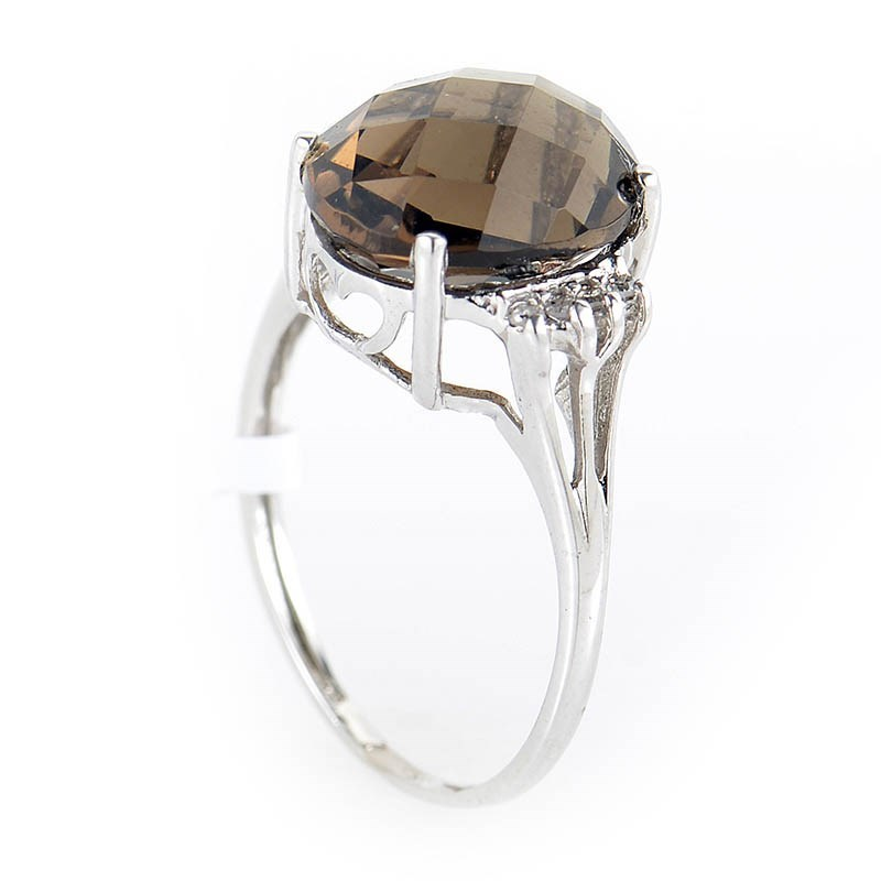 10K White Gold Smokey Topaz & Diamond Ring