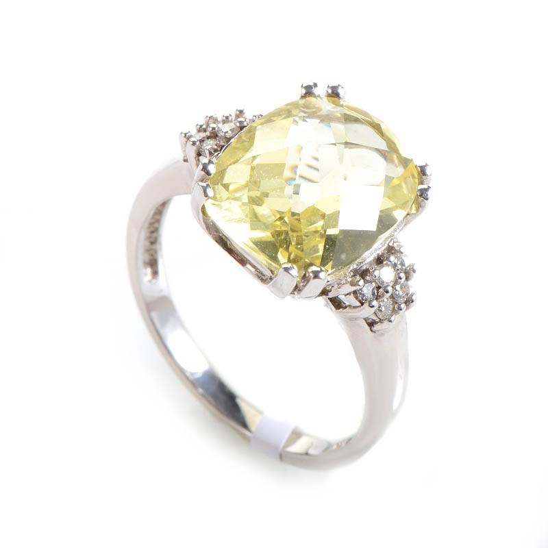 10K White Gold Lemon Citrine & Diamond Ring