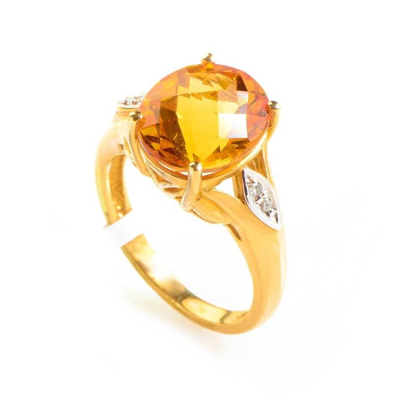 10K Yellow Gold Diamond & Citrine Ring