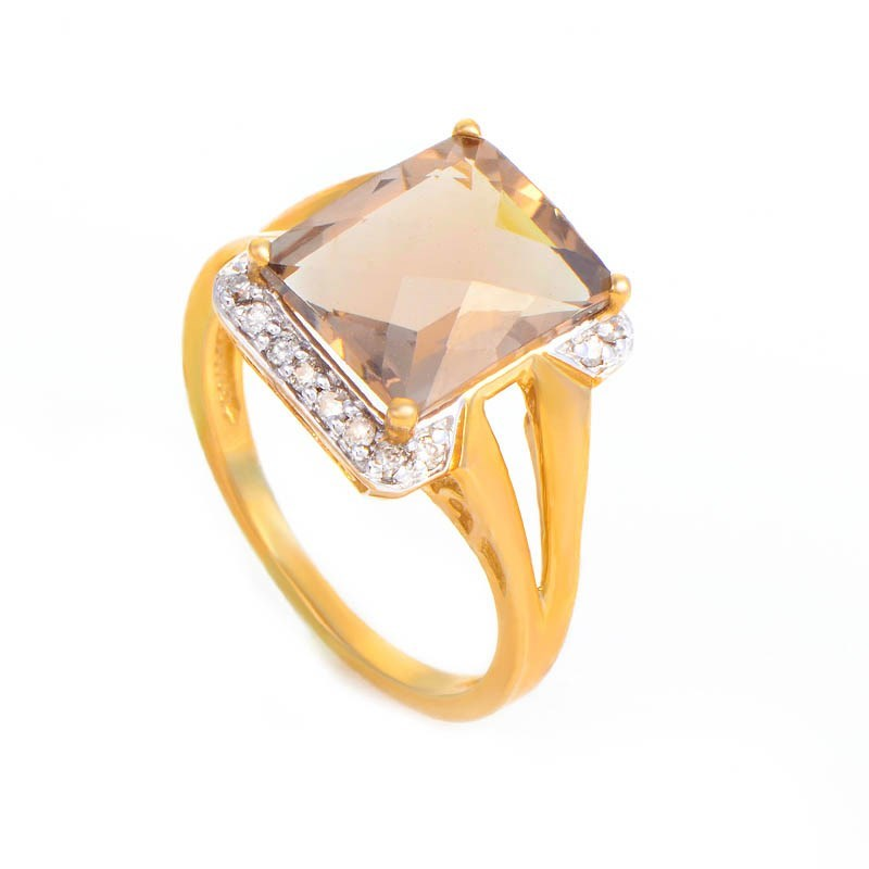 10K Yellow Gold Smoky Quartz & Diamond Ring