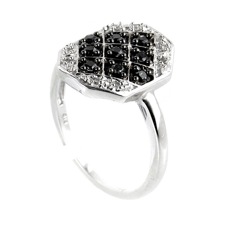 10K White Gold Black & White Diamond Ring
