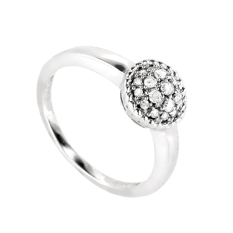 10K White Gold Diamond Snowball Ring