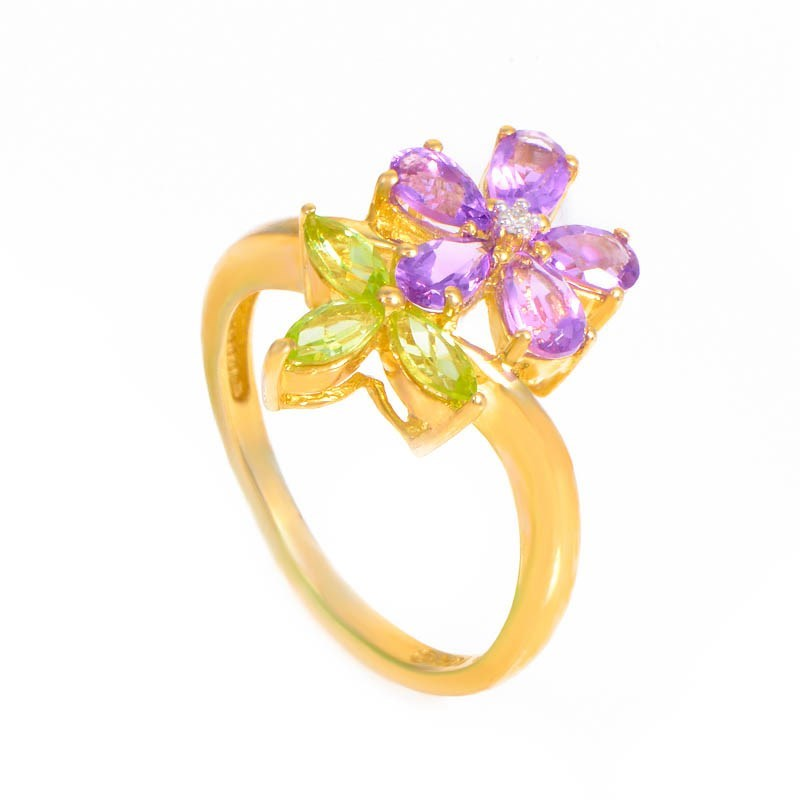 10K Yellow Gold Amethyst & Peridot Flower Ring