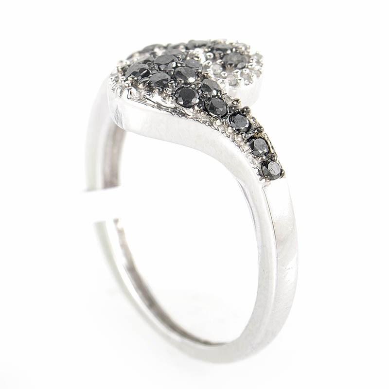 10K White Gold Black & White Diamond Swirl Ring