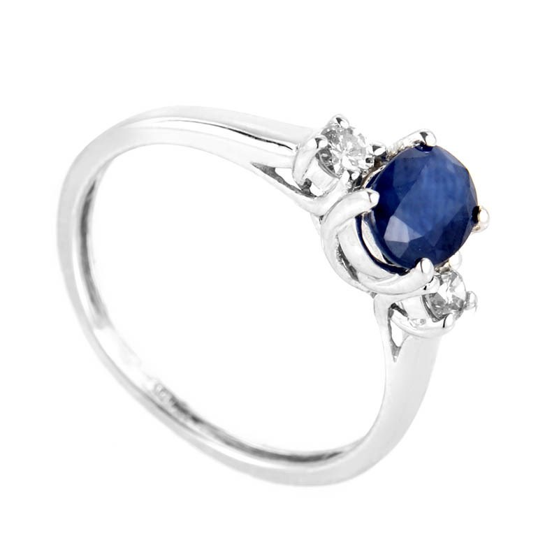 10K White Gold Sapphire & Diamond Ring LS1-02326