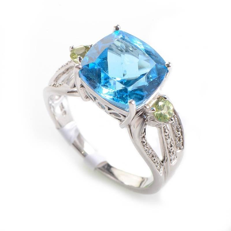10K White Gold Diamond Topaz & Peridot Ring LT1-01272