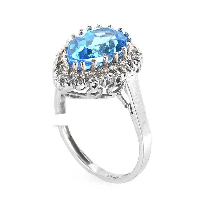 10K White Gold Teardrop Topaz & Diamond Ring LT1-01413