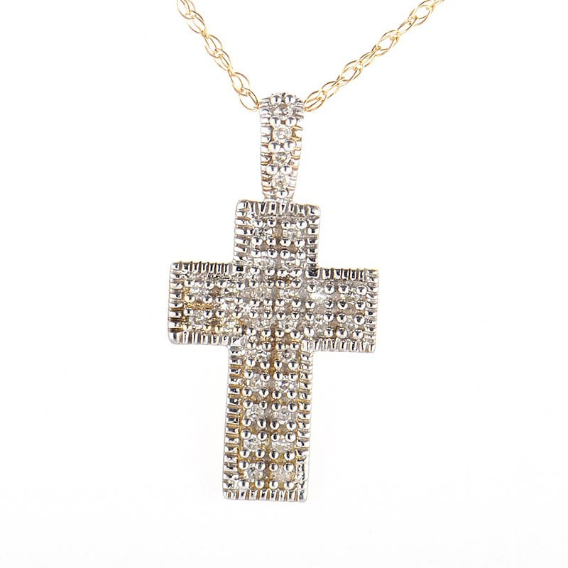 10K Yellow Gold Diamond Pave Crucifix Pendant Necklace