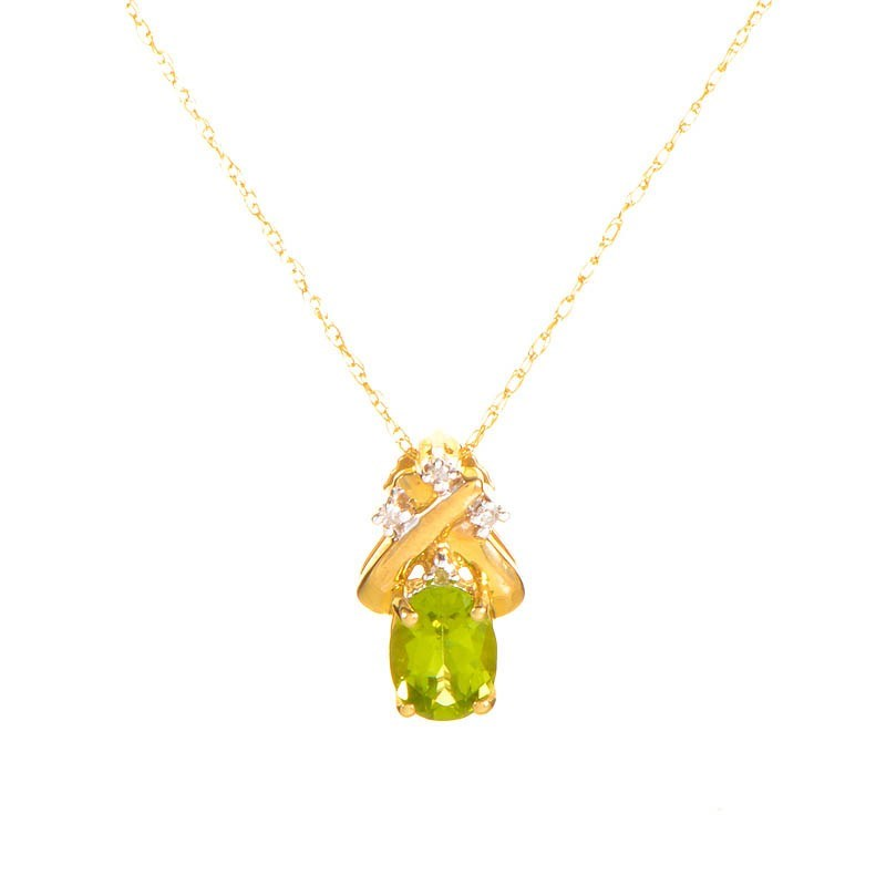 10K Yellow Gold Diamond & Peridot Pendant Necklace