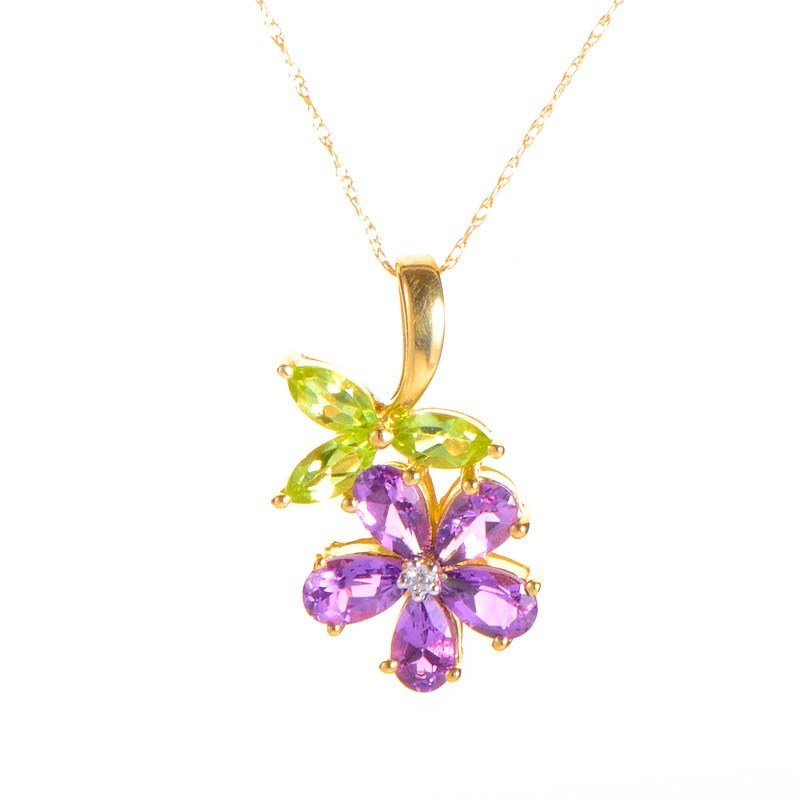 10K Yellow Gold Peridot & Amethyst Flower Pendant Necklace