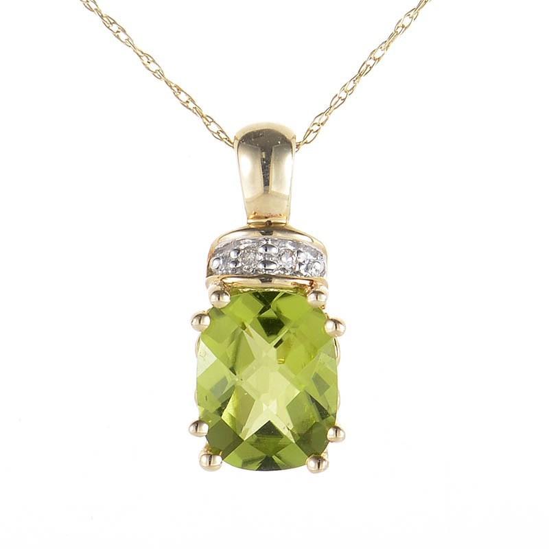 10K Yellow Gold Peridot & Diamond Pendant Necklace