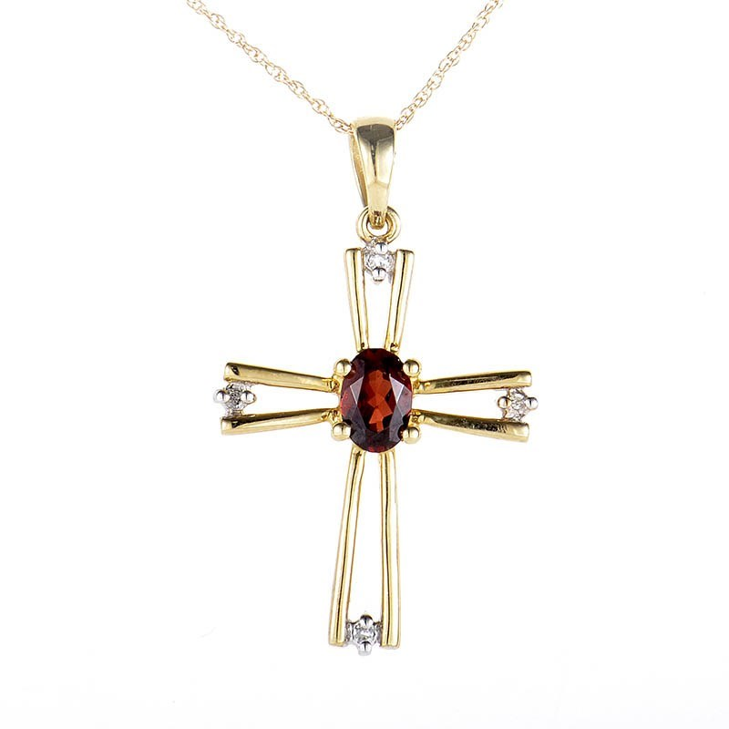 10K Yellow Gold Garnet & Diamond Crucifix Pendant Necklace
