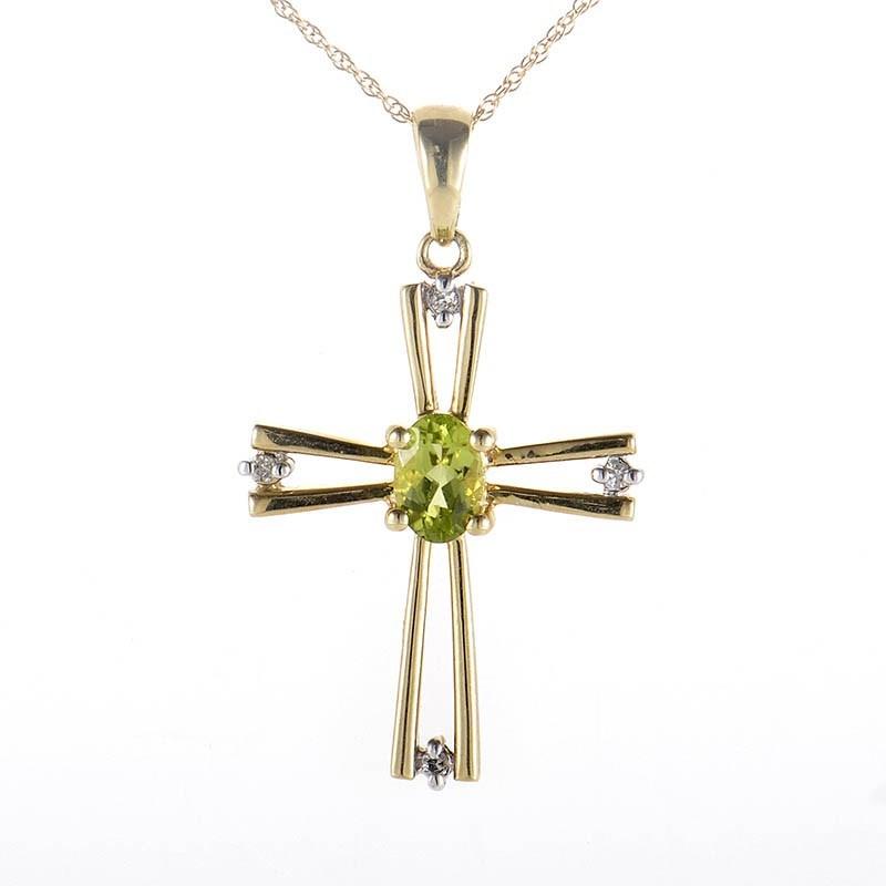 10K Yellow Gold Peridot & Diamond Crucifix Pendant