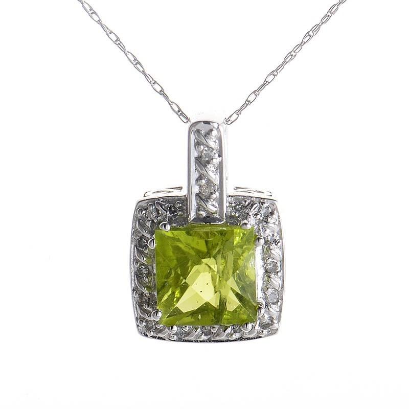 10K White Gold Peridot & Diamond Pendant Necklace