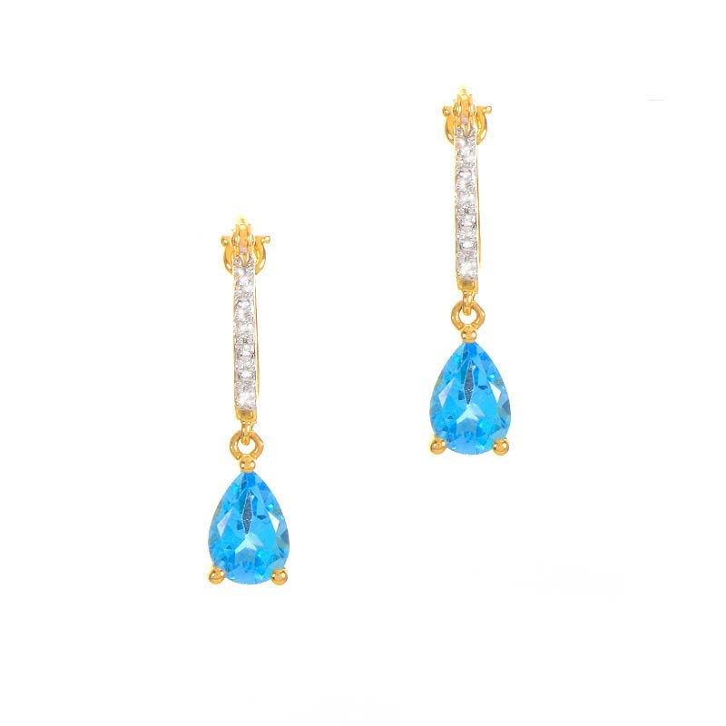 14K Yellow Gold Teardrop Topaz & Diamond Earrings