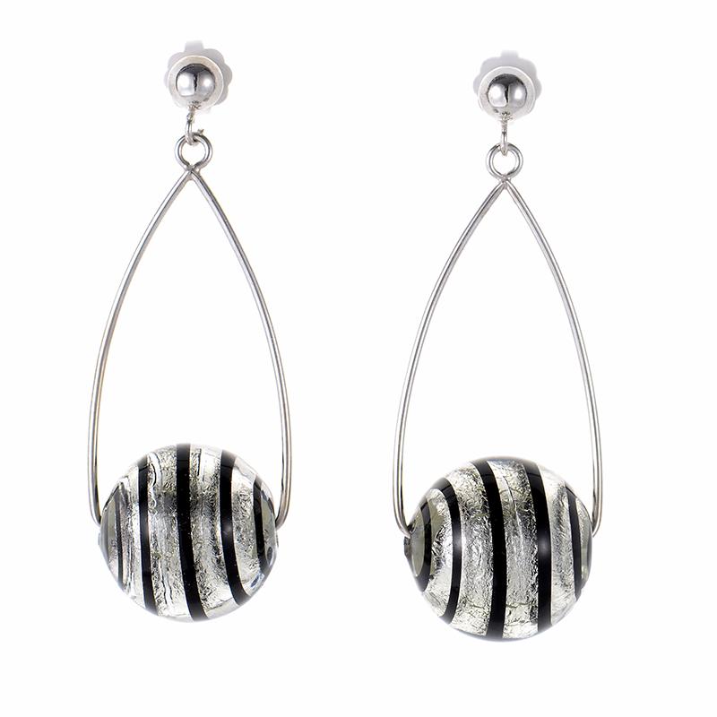 14K White Gold Crystal Bead Earrings