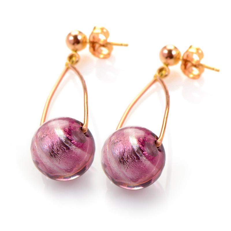 14K Rose Gold Pink Crystal Bead Earrings PSBSAG03-80212