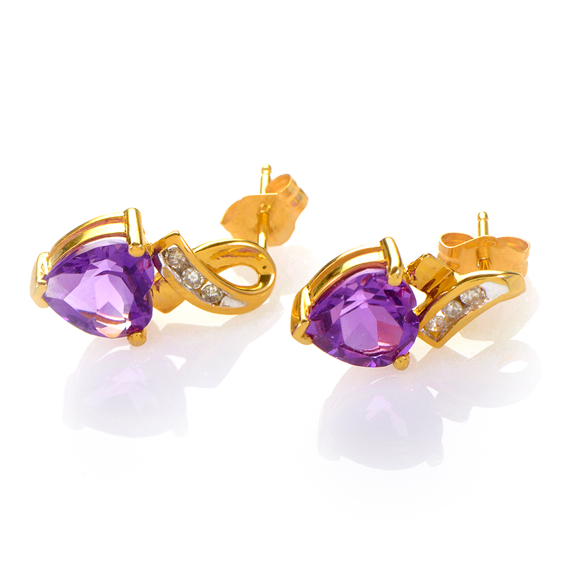 14K Yellow Gold Amethyst Heart Earrings