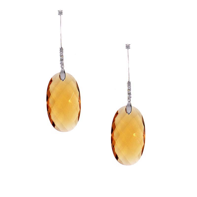 18K White Gold Diamond & Orange Citrine Drop Earrings 10SE0926-CIT